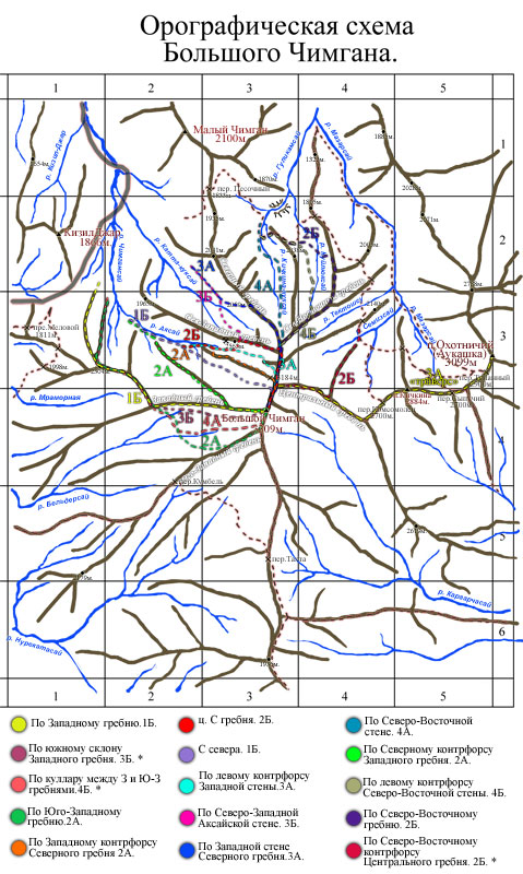 Орографическая схема г. Большой Чимган